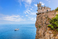 Swallow Nest in Crimea, beautiful mountain landmark