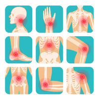 Set of red circle pain localization, human body, skeleton, joints and bones