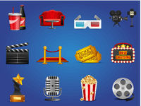 Set of cinema theater and movie icons for mobile app or decor