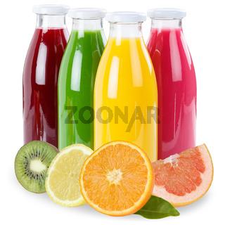 Saft Flasche Fruchtsaft Früchte freigestellt Freisteller