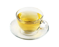 Transparent glass cup of green tea isolated