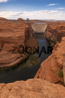 Textured Sandstone Frames the Dam at Lake Powell on the Colorado River