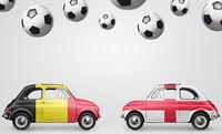 Belgium and England football cars