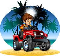Vector cartoon boy driving 4x4 car on the beach