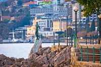 Opatija bay statue and waterfront view