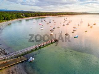 Callala Bay views of jetty and boat moorings