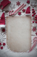 Retri Christmas Flat Lay, Vertical Paper, Copy Space, Snow