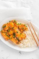 Portion of orange chicken