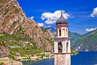 Tower in Limone sul Garda and lake cliffs view