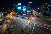 Seoul City Traffic At Night