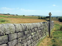 a signpost on a grass path next to a long stone wall in a landscape of fields and farms in in the yorkshire dales near blackshaw head