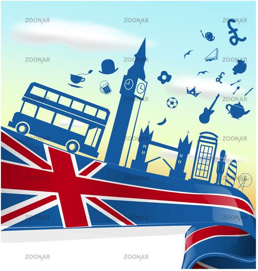 UK LONDON  element on flag with sky background