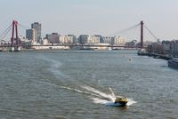 Water taxi on the Meuse River in Rotterdam Netherlands