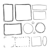 Set of black hand-drawn frames in different proportions on white