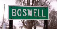 A Simple Green Sign Marks the City Limit of Boswell Indiana