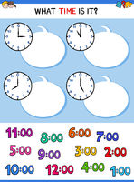 telling time clock face cartoon game