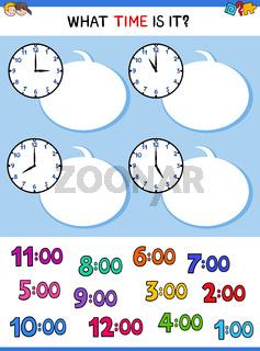 telling time clock face cartoon game