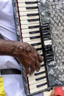 Musician playing accordion at popular religious festival