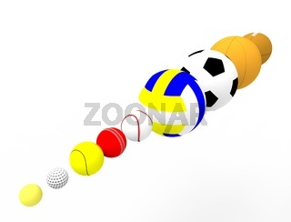 3d rendering of a row of sport balls isolated on white background