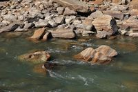 Rocks shaped by water of the Langtang Khola, river in Nepal.