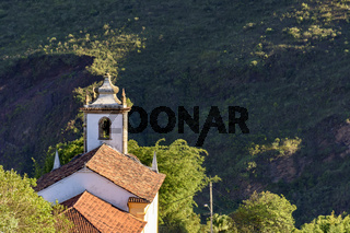 Back view of ancient colonial style catholic church in Ouro Preto