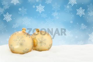 Weihnachten Gold Weihnachtskugeln Dekoration Winter Schneeflocken Schnee