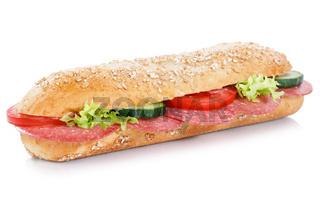 Brötchen Sandwich Vollkorn Baguette belegt mit Salami freigestellt Freisteller