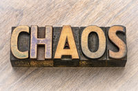 chaos word in wood type