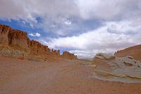 Stone formation Pacana Monks, Monjes De La Pacana, The Indian Stone, near Salar De Tara, Los Flamencos National Reserve, Atacama Desert, Chile