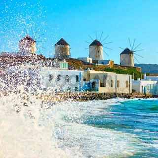 Windmillls of Mykonos on the coast of Aegean Sea