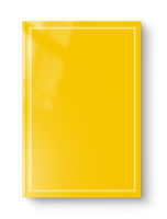 Closed yellow blank book with frame isolated on white