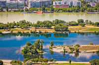 Danube river and Vienna waterfront view