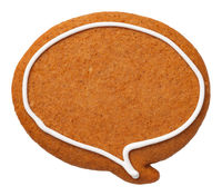 Gingerbread Speech Bubble Cookie Isolated on White Background