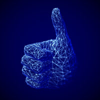 Concept of social network and media: digital human hand with thumb up gesture.