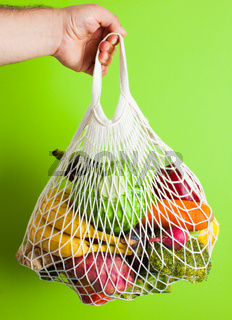 Natural organic food in cotton mesh bag