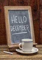 Hello December blackboard sign