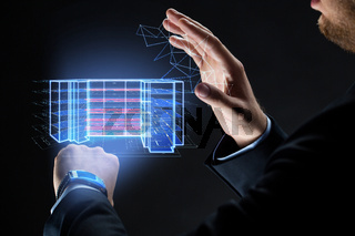 male hands with virtual construction project