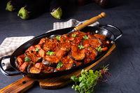 arni me melitzanes - stewed lamb with eggplant