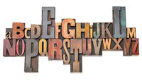 alphabet abstract in vintage letterpress wood type