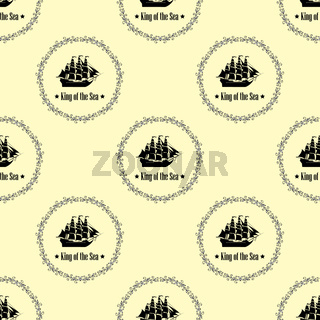 Sign of King of the Sea. Seamless vector pattern.