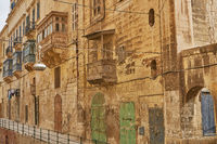 Typical and traditional architecture and houses in Valletta in Malta