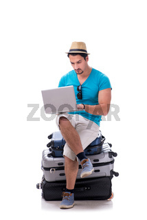 Freelancer working on the go isolated on white