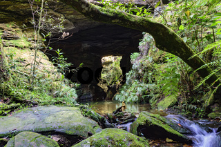 River among rocks, moss, cave and rainforest