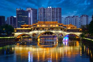 Anshun bridge at night, Chengdu, China