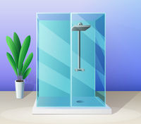 Modern shower stall and indoor plant vector in flat style, bathroom illustration.