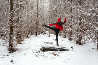 Stretching outdoors in the snow