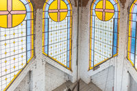 Stained glass windows at the catholic church