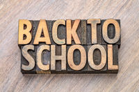 back to school word abstract in vintage wood type