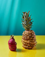 Tropical Pineapple fruit single whole and dragon fruit, pitaya made up of sliceson on a duotone yellow-green background