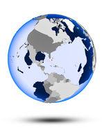 Bahamas on globe